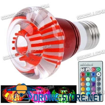 E27 3W RGB Crystal Flash LED Light Bulb with Remote Controller AC 85-265V (Red)