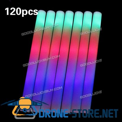 120PCS Light-Up Foam Sticks LED Rally Rave Cheer Tube Soft Glow Baton Wands
