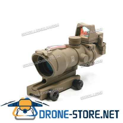 Tactical 4x32 Real Red Fiber Optic Illuminated Rifle Scope w/ RMR Red Dot Tan