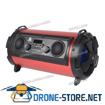 15W LCD Bluetooth Wireless Speaker Super Bass Subwoofer Stereo AUX USB TF FM Red