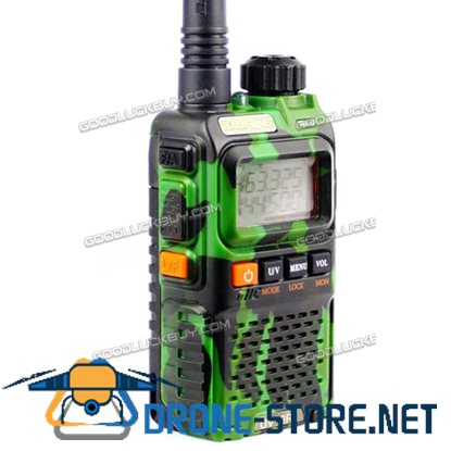BAOFENG Black UV-3R+ PLUS Dual Band Radio 136-174/400-470MHz+PPT Earpeice Green