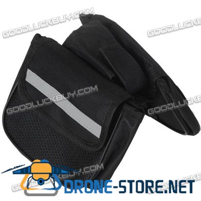 GIANT 3 Compartments Bicycle Front Pouch Bike  Bag Black