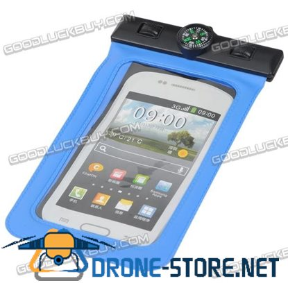 5.5inch Waterproof Pouch Swim Diving Bag Case w/Compass for iPhone5/4/4S Samsung S4 S3 Blue