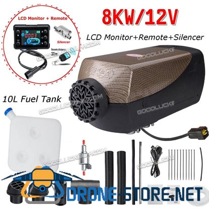 12V 8000W Air Diesel Heater LCD Monitor Remote Silencer 8KW For Truck Boat Car