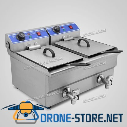 2x10L Stainless Steel Commercial Double Tank Electric Deep Fat Fryer w/ Timer