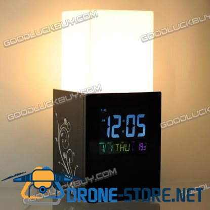 Touch-sensitive Risen Light LED Lamp w/ LCD Display Clock