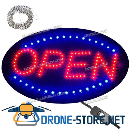 "Large 23x14"" Bright Animated Oval Open Mart Shop LED Store Sign Display Neon"