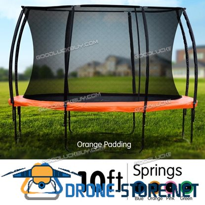 10ft Round Spring Trampoline Free Safety Net Pad Cover Mat Ladder Basketball Set
