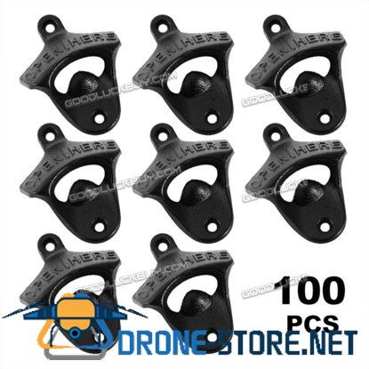 100Pcs Rustic Open Here Cast Iron Wall Mounted Bottle Opener for Beer