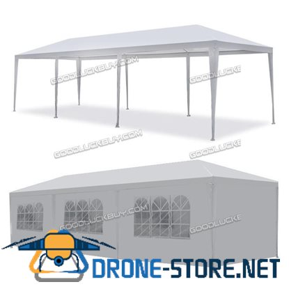 10'x30' Outdoor Canopy Party Wedding Tent White Gazebo Pavilion w/ 8 Side Walls