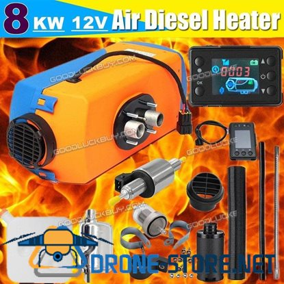12V 8KW Diesel Air Heater Tank Vent Duct LCD Thermostat Silencer Motorhome RV