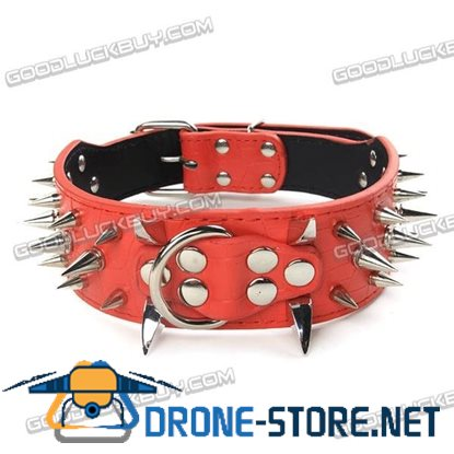 "17-20"" Sharp Spiked Studded PU Leather Collar for Large Dog Pet Pitbull Mastiff Durable Red"