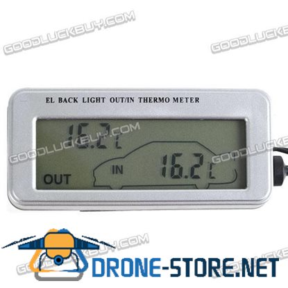 In Out LCD Dual-Way Digital Car Thermometer Back Light Car Clock