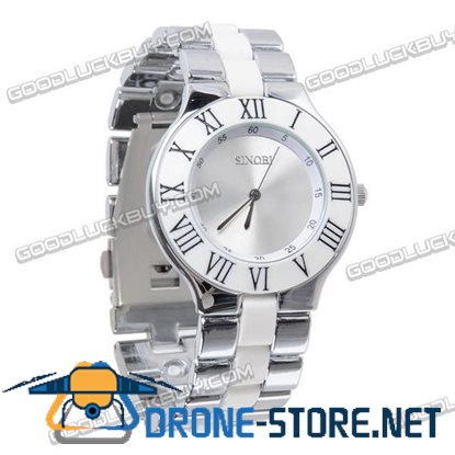 Stainless Steel Quartz Wrist Watch Men Gift Waterproof White 4055