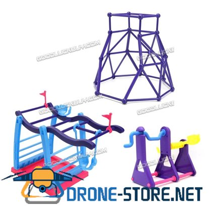 3Pcs Finger Baby Monkey Swing Set + Monkey Seesaw + Purple Jungle Gym Playset