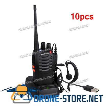10x Baofeng BF-888S Walkie Talkie Long Range 2 way Radio UHF 400-470MHZ 16CH Earpiece Black