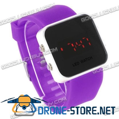 NEW Mirror Red LED Fashion Silicone Wrist Watch Purple