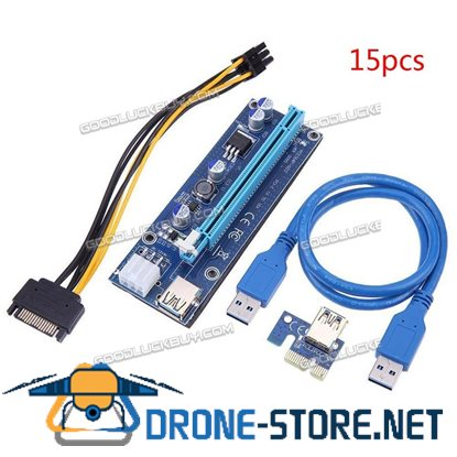 15Pcs PCI-E 1X to 16X USB Riser 009S Adapter Card Extension Cable for BTC Miner Blue