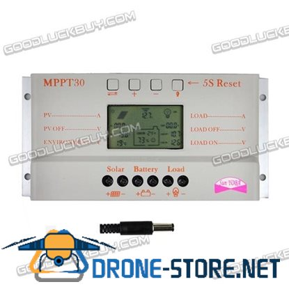30A 12V/24V PWM Solar Panel Regulator Charger Controller with LCD USB MPPT30