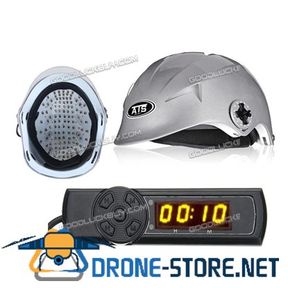 128 Diodes Laser Hair Loss Treatment Regrowth Promoter Cap Helmet Therapy Timer Grey