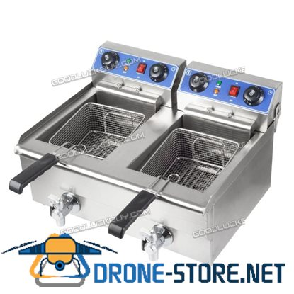 2x10L Stainless Steel Commercial Double Tank Electric Deep Fat Fryer
