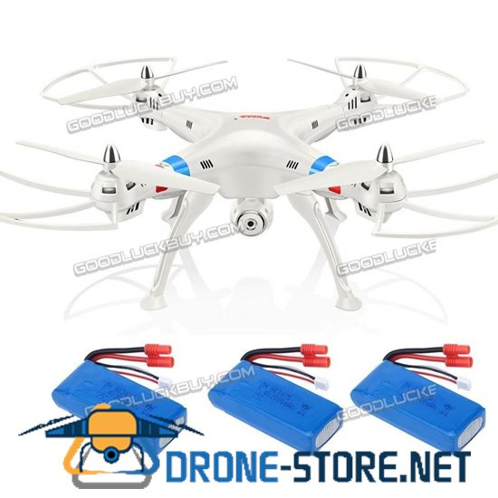 SYMA X8W FPV RC Drone Quadcopter Drone 4CH Gyro 2MP Camera RTF + 3 Extra Battery White