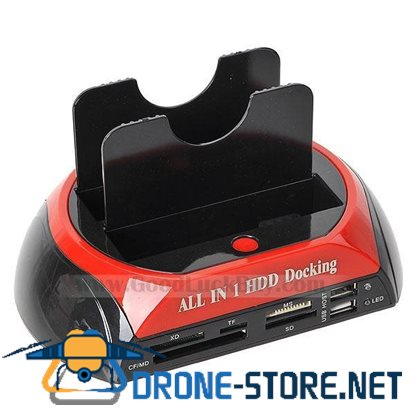 All in 1 Dual HDD Docking Station With Card Reader Write Hub