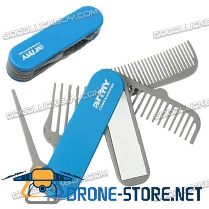 Multi-function Home / Travel / Army Comb & Mirror (Blue)