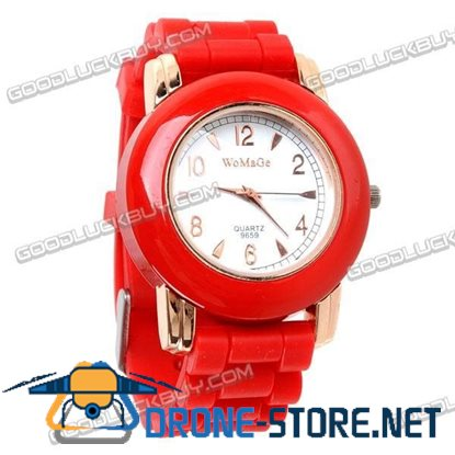 Fashional Knitted Silicone Belt Wrist Watch Round Face (Red) 9659
