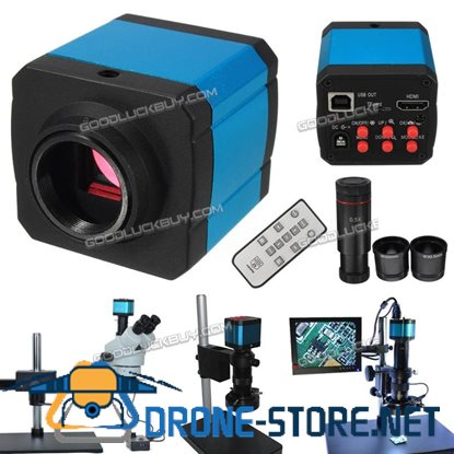 14MP 1080P HDMI USB Digital Industry Video Microscope Camera C-mount Zoom Lens w/ 2 Ring Adapter