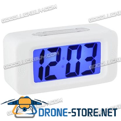 Large LCD Display Alarm Clock Silicone Frame White E0716