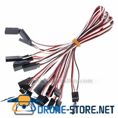 300mm 3-Pin Servo Leads Connection Extension Cables (10-Pack)