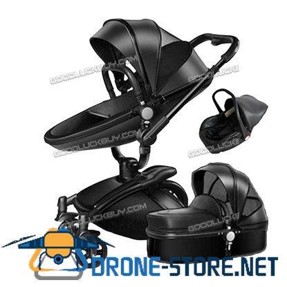 New Baby Stroller 2 in 1 Leather Carriage Infant Travel Foldable Pram Pushchair Black