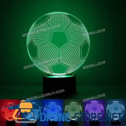 Acrylic 3D Soccer Football LED 7 Color Changing Night Light USB Touch Desk Table Lamp Xmas Gift