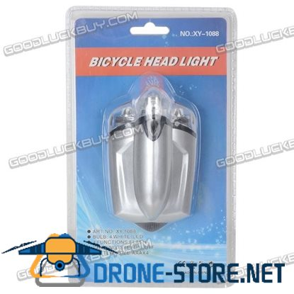 4 White LED Bicycle LED Head Light with Clamp