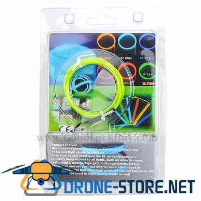 1m EL Wire Light Green Neon Cold Light Strip String with 2AA Battery Inverter