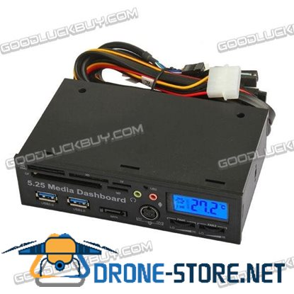 5.25 inch USB3.0 PCI-E Dashboard LCD Sata 5.0Gb/s Media Audio Card Reader adaptor