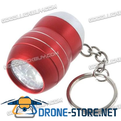 6 LED Portable Mini Torch Flashlight with Keychain Keyring Red