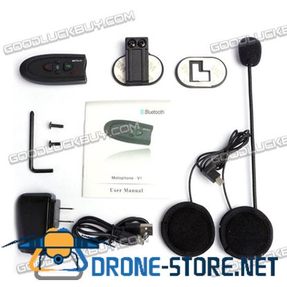 VNETPHONE V1 Waterproof Bluetooth Motorcycle Intercom System Headphone with MP3 FM