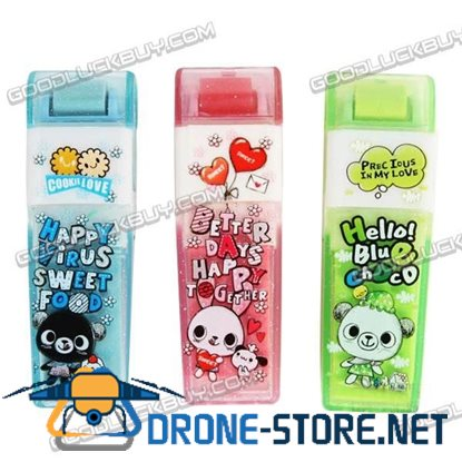 Colorful Bear Cartoon Roller Eraser Rubber Toy Gift 1 Pack of 3