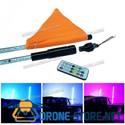 1.5M 5FT RGB Lighted 5050 LED Light Whip w/ Remote for ATV UTV Dune Off Road Vehicles