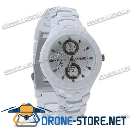 Stainless Steel Quartz Wrist Watch Lady Gift Waterproof White 3595