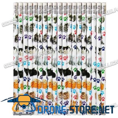 1 Pack of 12 Cats Wooden Pencil w/ Eraser 19cm