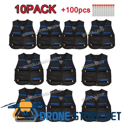100 PCS Gun Soft Darts & 10Tactical Vests For Nerf N-Strike Elite Series Glow