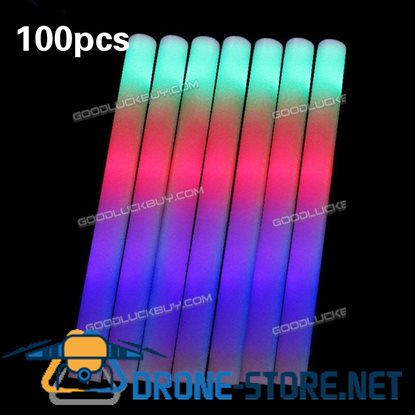 100PCS Light-Up Foam Sticks LED Rally Rave Cheer Tube Soft Glow Baton Wands