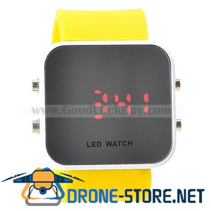 NEW Mirror Red LED Fashion Silicone Wrist Watch Yellow