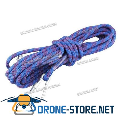 10M 12mm Climbing Rope Outdoor Safty Mountain Rescue Escape Rappelling Auxiliary Cord Blue