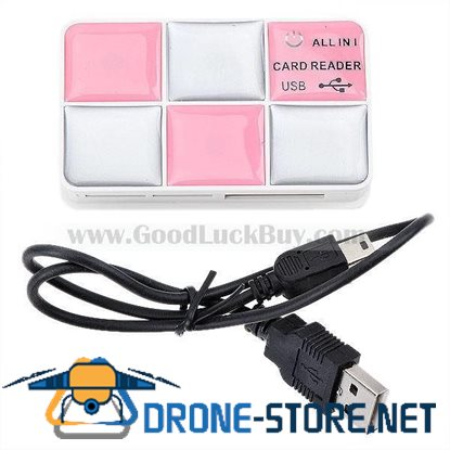 All-in-One Mosaic-Grid Style USB 2.0 Card Reader (Pink)