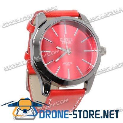 Fashional Leather Belt Wrist Watch Black Round Face (Red Strap) 9449