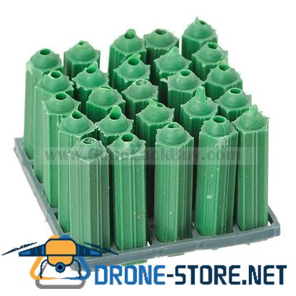 28mm Length Green Plastic Screws + Anchors - 8mm Hole (100 Pack)